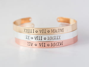 Custom Roman Numerals stamped cuff bracelet, hand stamped Roman Date personalized jewelry