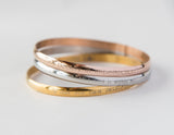 Gold, Rose Gold Colored Steel Bangle, Free Hidden Message Engraving