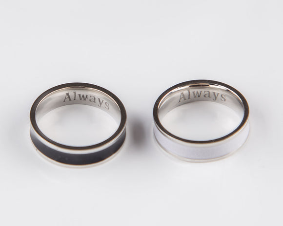 Couple Rings Black and White Personalized Couple Gift, Stainless Steel Promise Ring, Purity Rings