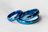 Blue Women or Men Ring Engraved Gift for Men Thin Ring for Husband Boyfriend