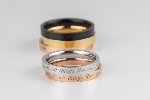 Philippians 4:13 Ring I can do all thing through Christ Who Strengthens Me Religious Scripture Gift