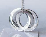 Personalized Scripture Rings Necklace, Custom Christian Steel Russian Interlocked Rings Necklace