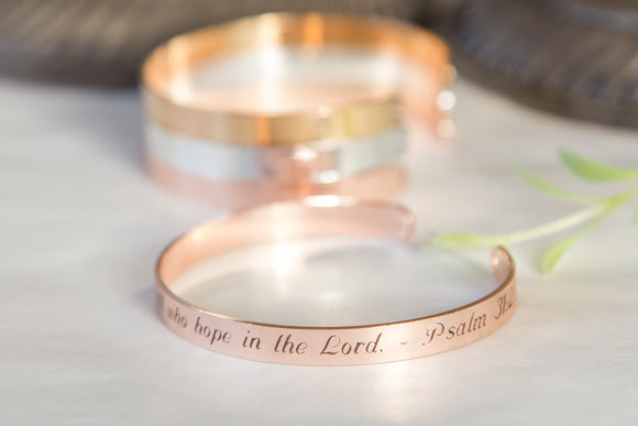 Be Strong And Take Heart Christian Religious Quote Bracelet, Engraved Bible Quote, Scripture Quote Cuff Psalm 31:25