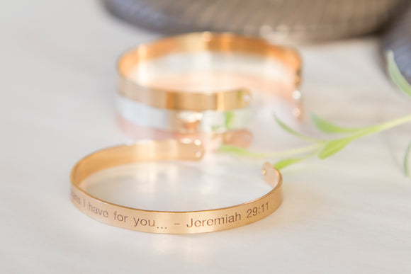 For I Know the Plans I Have For You Bracelet, Engraved Religious Bible Quote Cuff Jeremiah 29:11