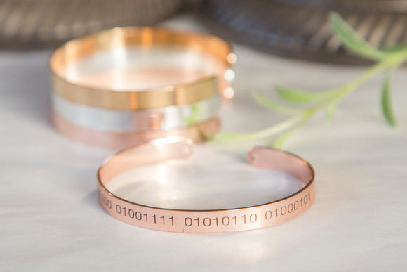 Binary Code Bracelet, Secret Message Geeky Engraved Cuff, Custom Binary Bracelet
