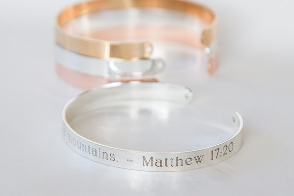Our Faith Can Move Mountains Christian Religious Quote Bracelet, Engraved Bible Quote, Scripture Quote Cuff