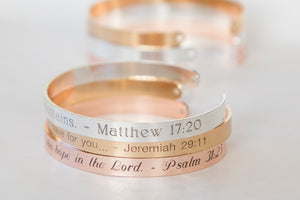 Custom Scripture Quote Bracelet, Personalized Engraved Bible Quote, Your Favorite Bible Quote Cuff