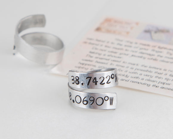 Coordinates ring, long distance gift, anniversary gift, lover gift, latitude longitude
