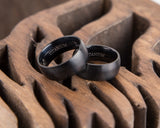 Black Titanium Ring for Men, Wide Black Brushed Matte Titanium Ring Anniversary Husband Boyfriend Gift