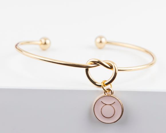 Dainty Knot Bracelet, Gold Plated Stainless Steel Wire Knot Bangle with Zodiac Symbol Charm Gift for Her