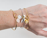 Dainty Knot Bracelet, Gold Plated Stainless Steel Wire Knot Bangle with Personalized Hand Stamped Charm Gift for Her