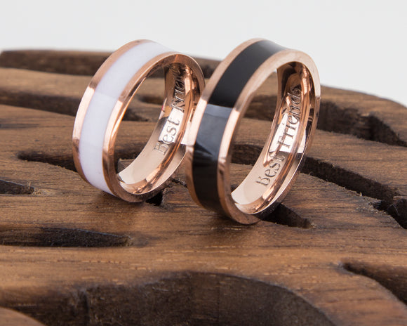 Rose Gold Couple Rings Black and White Personalized Couple Gift, Stainless Steel Promise Ring, Purity Rings