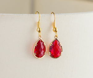 Birthstone Gold Plated Earrings, Faceted Birthday Gift Earrings for Each Month, Dainty Earrings