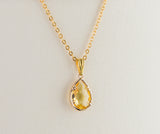 Birthstone Gold Plated Pendant, Faceted Birthday Gift Necklace for Each Month, Dainty Necklace