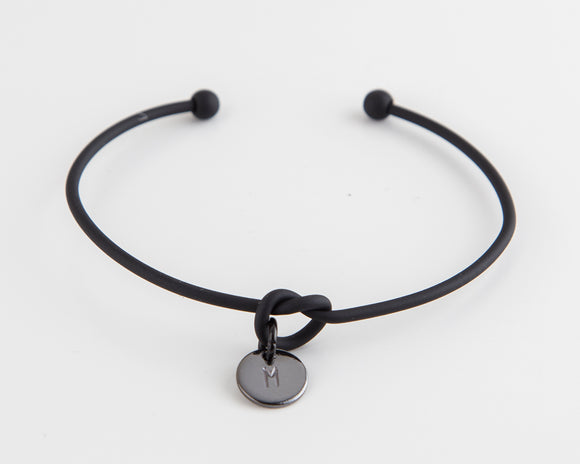 Dainty Knot Bracelet, Black Steel Wire Knot Bangle with Hand Stamped Initial Gift for Her