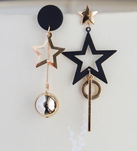Asymmetrical star boho earrings black statement earrings for her