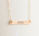 Bitch necklace, offensive gift gold feminist pendant fierce jewelry gift for her