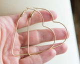 Huge heart hoop earrings, large golden heart gift earrings