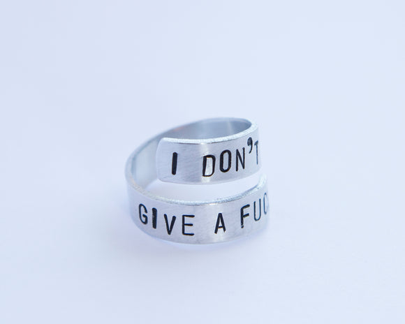 I Don't Give a Fuck Twist Ring Offensive Gift Wrap ring funny aluminum ring friend gift