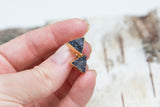 Black triangle druzy earrings, gold plated earrings