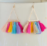 Rainbow tassel boho earrings long statement earrings for her, colorful tassel boho earrings