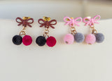 Small pompom earrings, pink, red and black earrings for her, petite pompom boho earrings