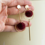 Red pompom boho earrings long statement earrings for her, wine red pompom boho earrings