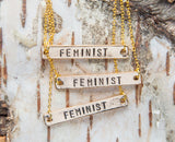 Feminist necklace, Feminist AF necklace, hand stamped bar necklace, golden bar