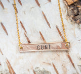 Cunt necklace, offensive gift gold feminist pendant fierce jewelry gift for her