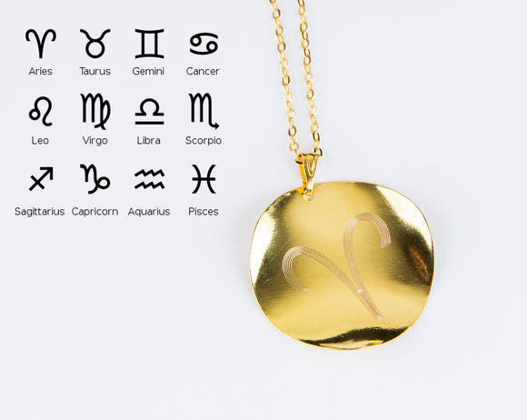 Personalized Zodiac Symbol Pendant Horoscope Necklace Virgo Leo Gemini Aries Libra Cuff Astrology