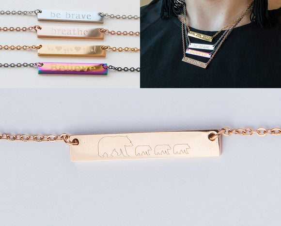 Mama Bear Bar Necklace Personalized Gift Mom Baby Name Necklace Rose Gold Mama Bear Cub Bar