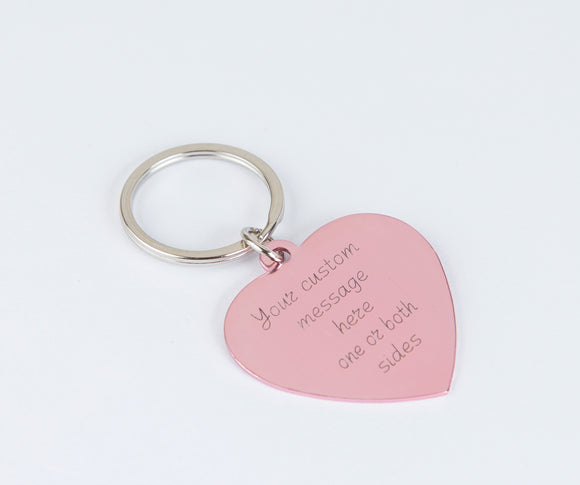 Personalized engraved pink heart keychain Custom gift girlfriend BFF wife new home gift, aluminum