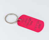 Personalized engraved pink keychain Custom gift girlfriend BFF wife new home gift, aluminum keychain