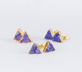 Purple triangle druzy earrings, gold plated earrings