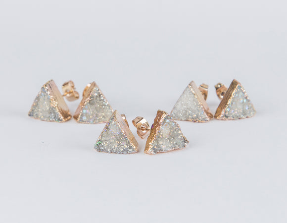 White triangle druzy earrings, gold plated earrings
