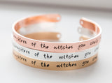 We are the granddaughters of the witches you could not burn bracelet, gold plated cuff bracelet