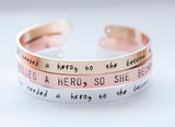 She needed a hero, so she became one, hand stamped cuff, silver/gold feminist inspirational jewelry