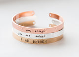 I am Enough bracelet, women empowerment gift, feminist gift, hand stamped inspirational jewelry