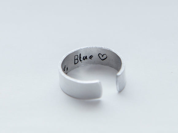 Hidden message ring, secret message aluminum ring, hidden message jewelry