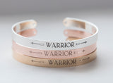 Warrior Bracelet, Inspirational Message Bracelet Gift, Warrior Cuff Bracelet, Be Brave Bracelet