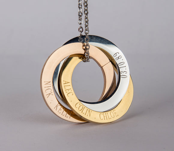 Personalized Russian Rings Eternity Necklace, Personalized Interlocked Circles Necklace Sister Gift