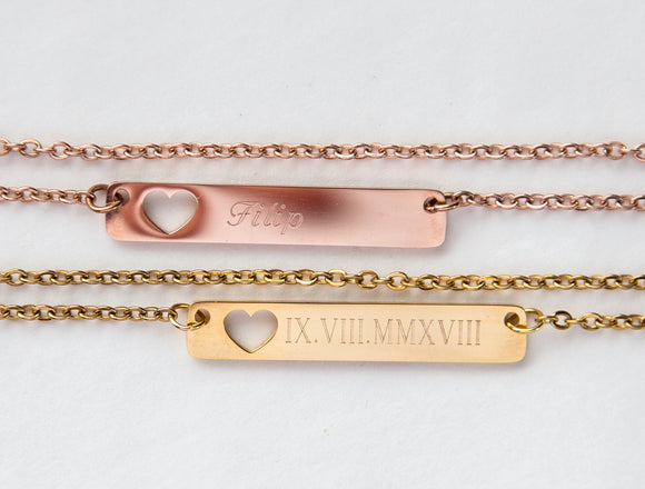 Personalized Name Bar Necklace Gift, Mom to Be Baby Name Love Heart Bar Necklace