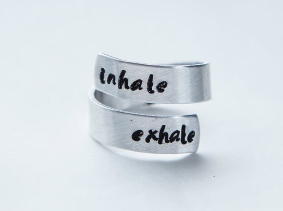 Inhale exhale ring, Yoga ring, yoga lover gift, meditation help
