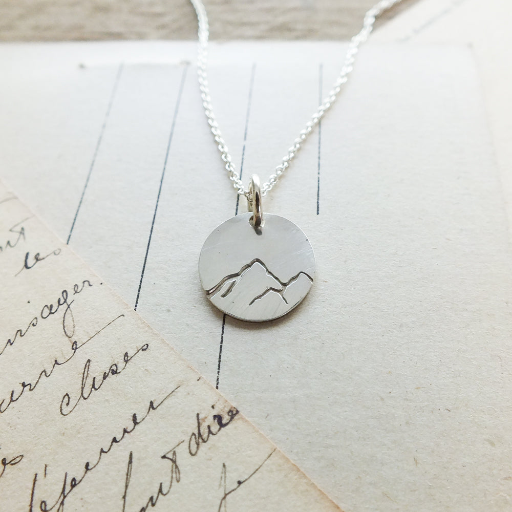 Mountain Round Charm Necklace