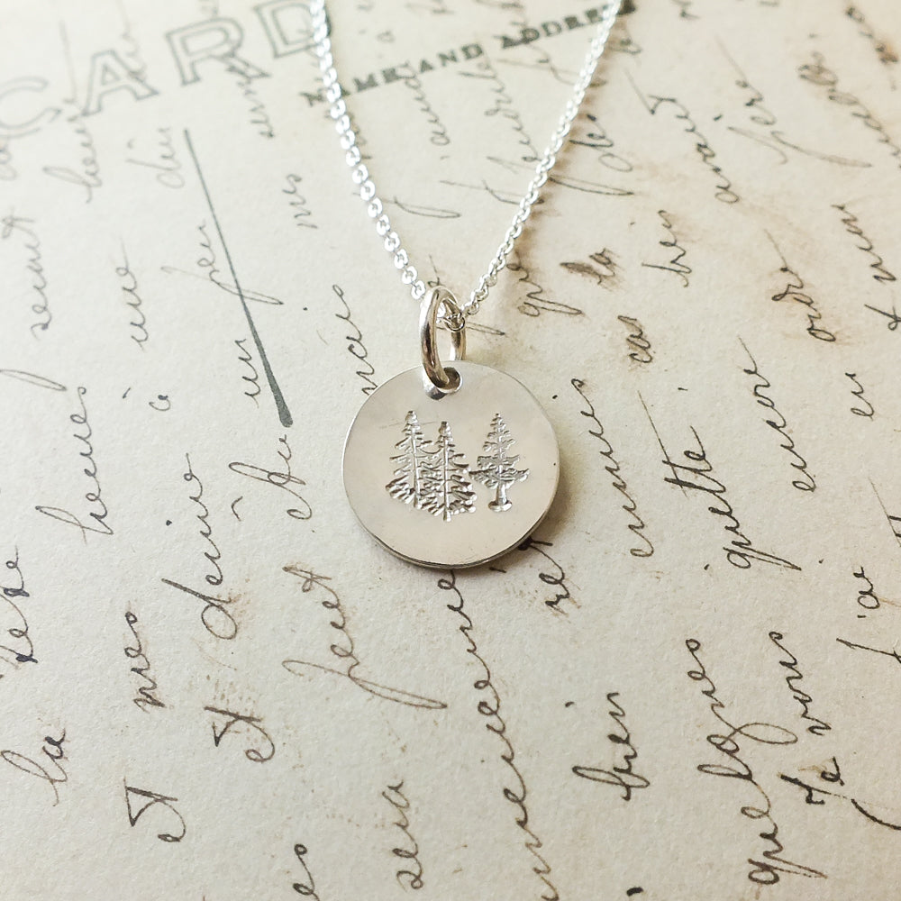 Trees Round Charm Necklace