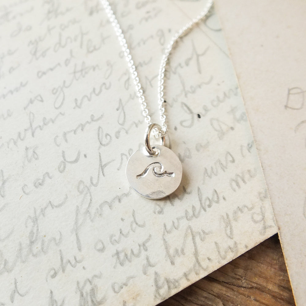 Wave Tiny Round Charm Necklace