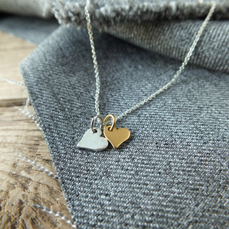 Tiny Double Heart Charm Necklace