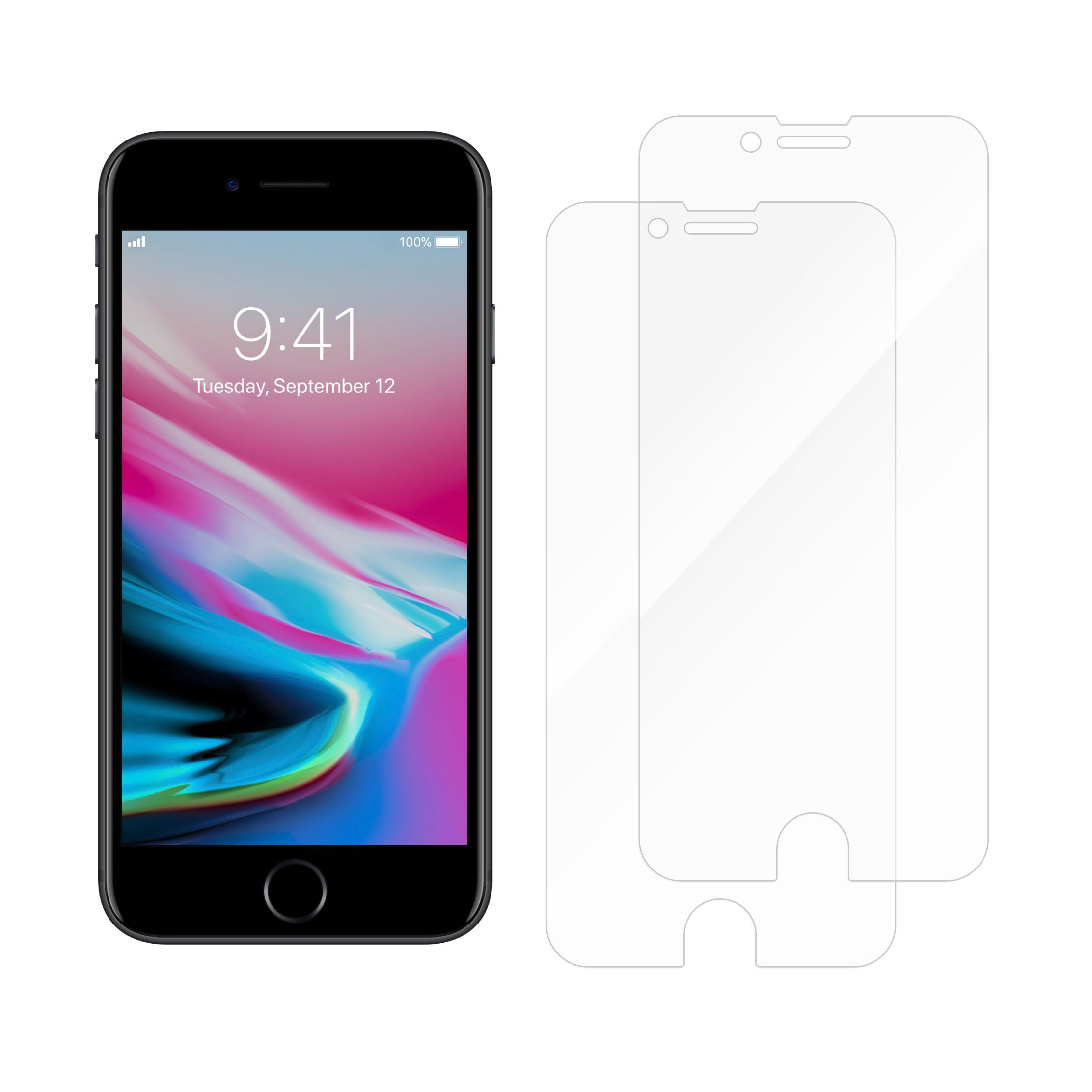 Protective Glass for iPhone SE/8/7/6S/6<br>Dual Pack