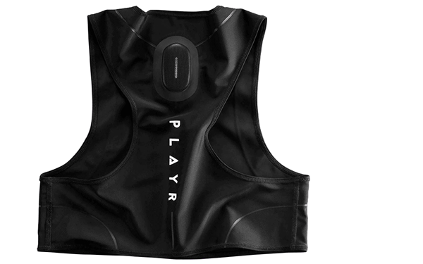 football tracking vest black, pod, PLAYR