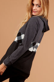 Charcoal & Plaid Colorblock Hoodie